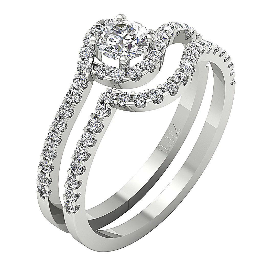 Halo Engagement Bridal Ring Set Band Vintage 1 00 Ct Real Diamond 14K White G