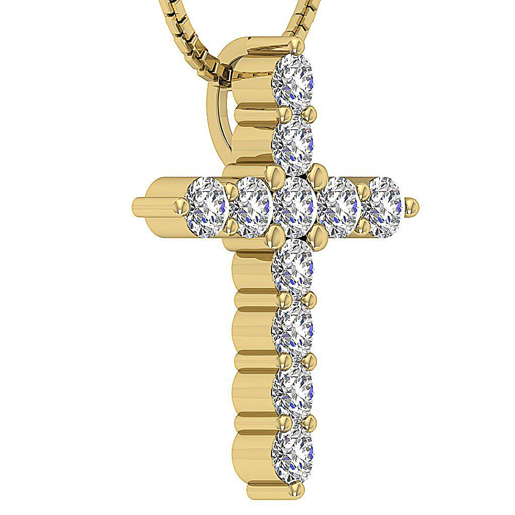 vs1 f natural diamond cross pendant necklace 14kt. Black Bedroom Furniture Sets. Home Design Ideas