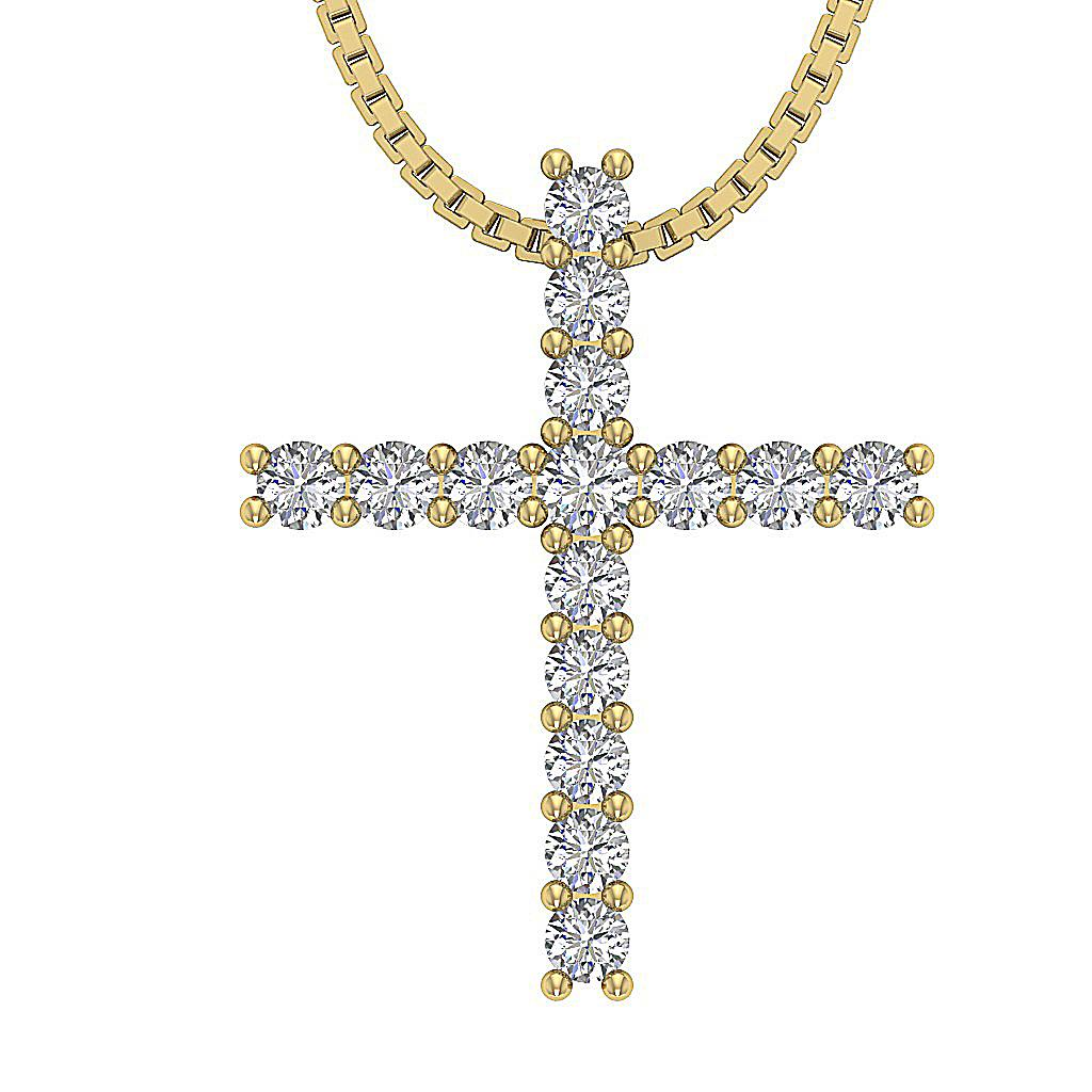 Cross Pendant Necklace Vvs1 F 0 75ct Real Diamond White