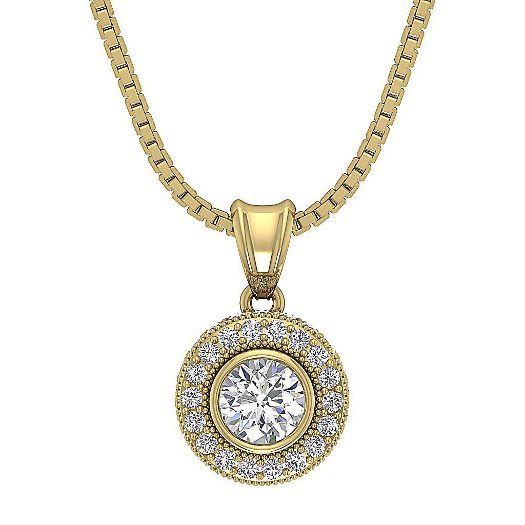 cluster pendant necklace si1 g round diamond yellow. Black Bedroom Furniture Sets. Home Design Ideas