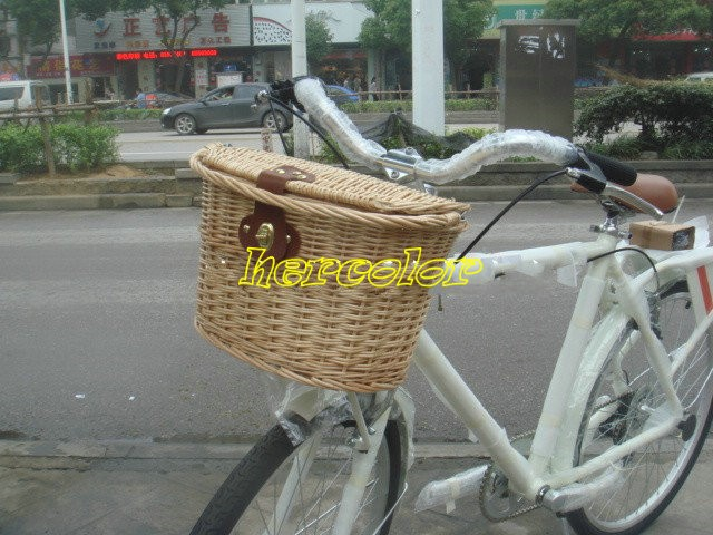 Handmade Chic Classic Willow Bicycle Front Basket Cycling Wicker Khaki/Beige