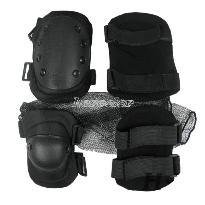 New-MILITARY-KNEE-ELBOW-PADS-NON-SLIP-SURFACE-DURABLE-PAD-BLACK