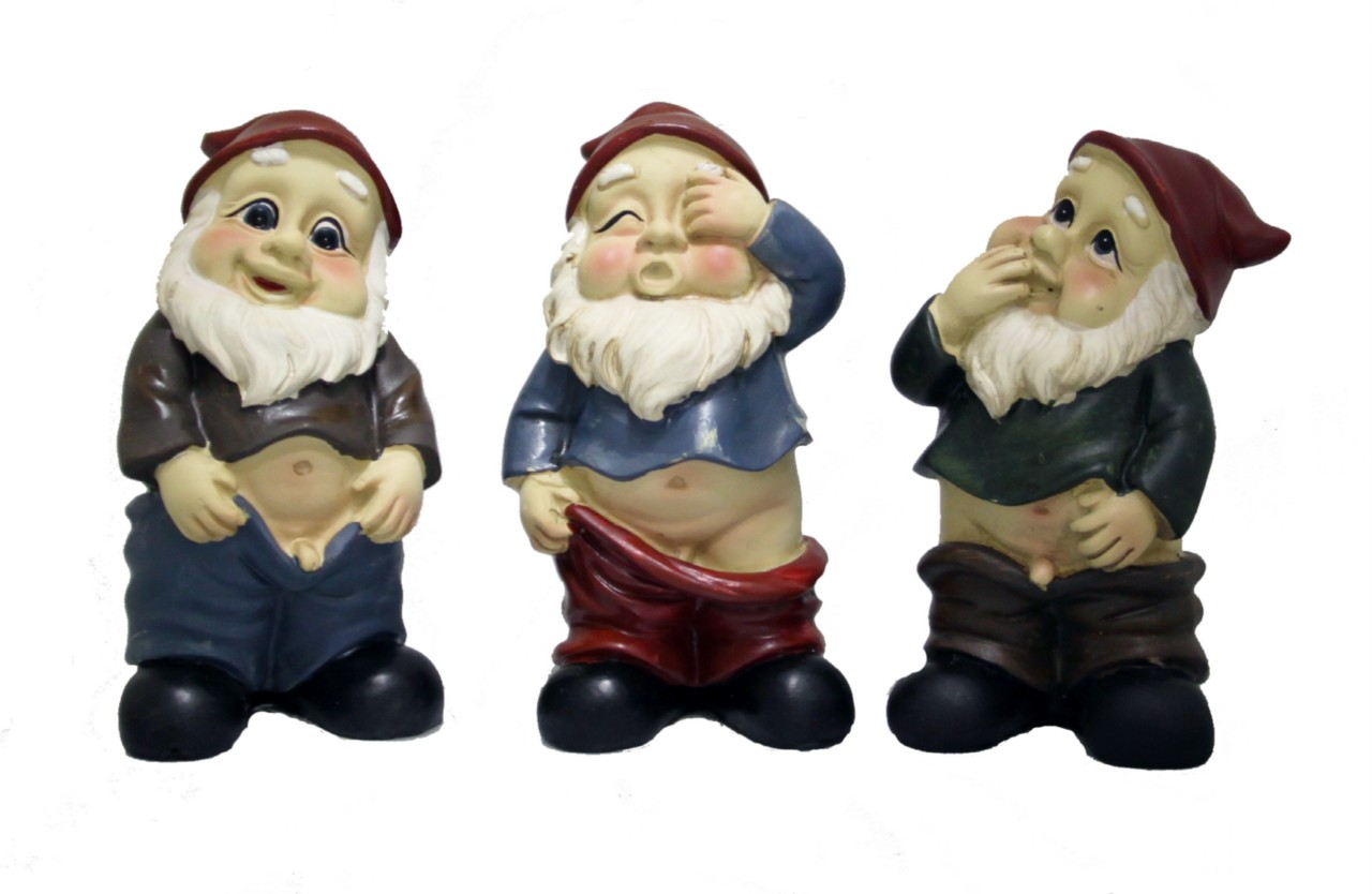 Brand-New-Set-Of-3-Rude-Gnome-Statue-Garden-Ornament