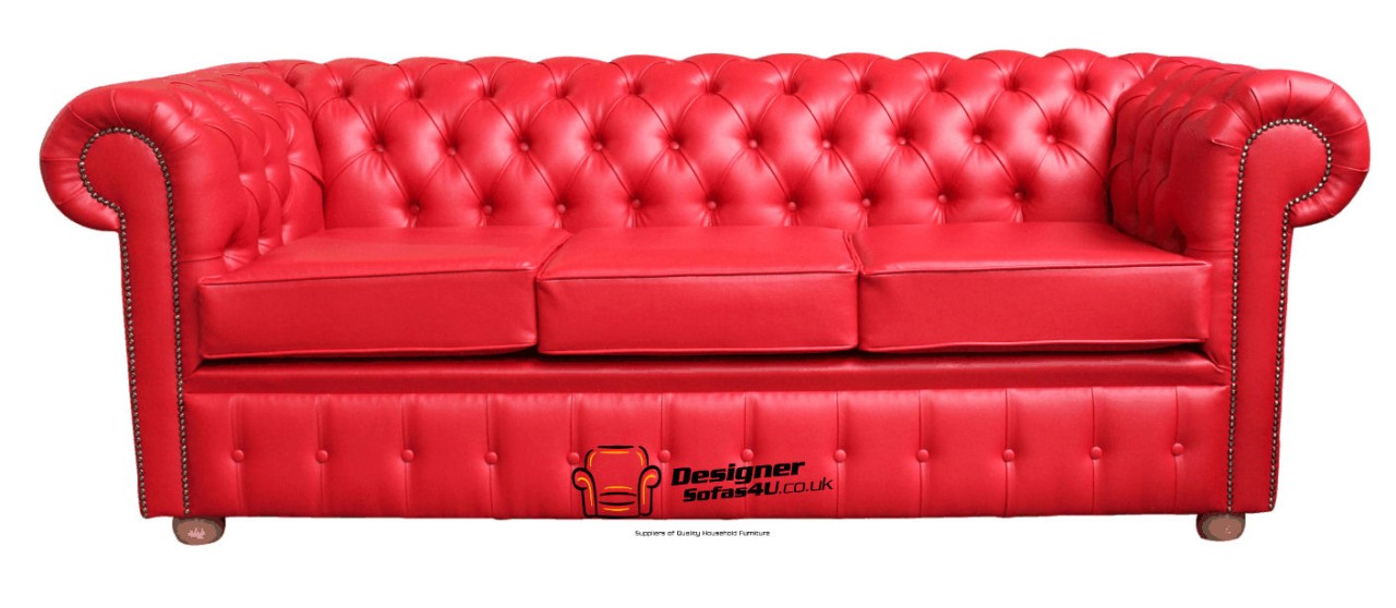 Chesterfield England 3 Seater Sofa Settee Seat Red Faux Leather Ebay