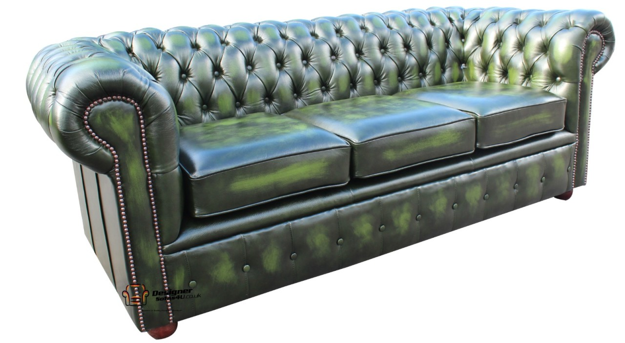 Chesterfield Traditional London 3 Seater Sofa Settee Antique Green Leather Ebay