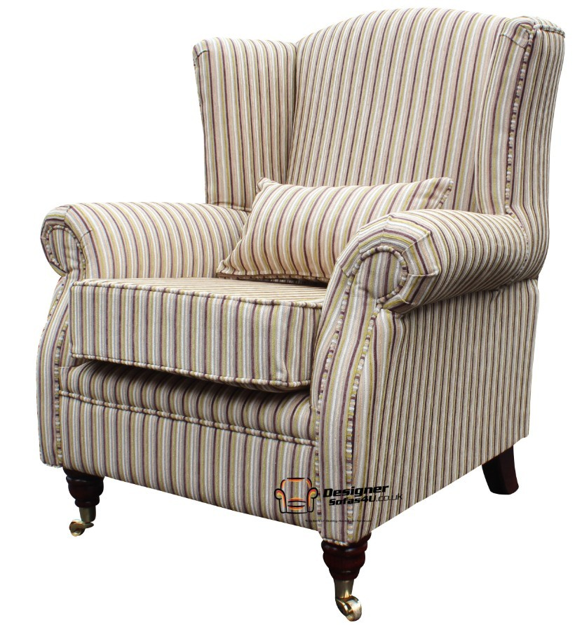 Ashley Fireside High Back Wing Easy Chair Armchair Olivia Stripe Meadow Fabric