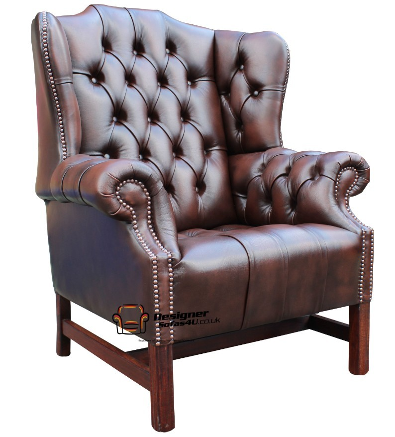 churchill fireside high back wing chair antique brown leather ebay