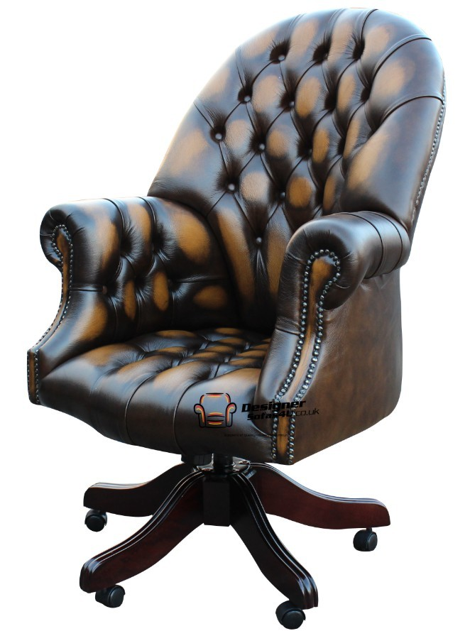 Chesterfield Directors Buttoned Seat Office Swivel Chair Antique Gold Leather