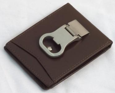 bottle opener money clip leather mens wallet card holder dk brown. Black Bedroom Furniture Sets. Home Design Ideas