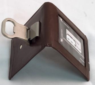 bottle opener money clip leather mens wallet card holder. Black Bedroom Furniture Sets. Home Design Ideas