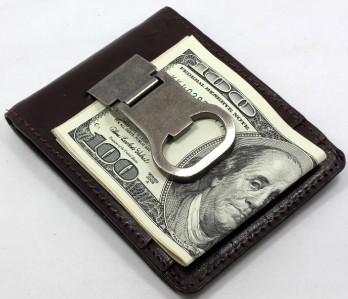 bottle opener brown money clip card holder leather mens holds 8 cards 1 id y9. Black Bedroom Furniture Sets. Home Design Ideas