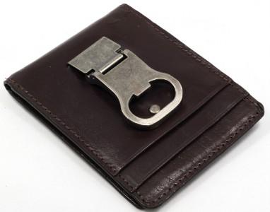 bottle opener brown money clip card holder leather mens holds 8 cards 1 id y993 ebay. Black Bedroom Furniture Sets. Home Design Ideas