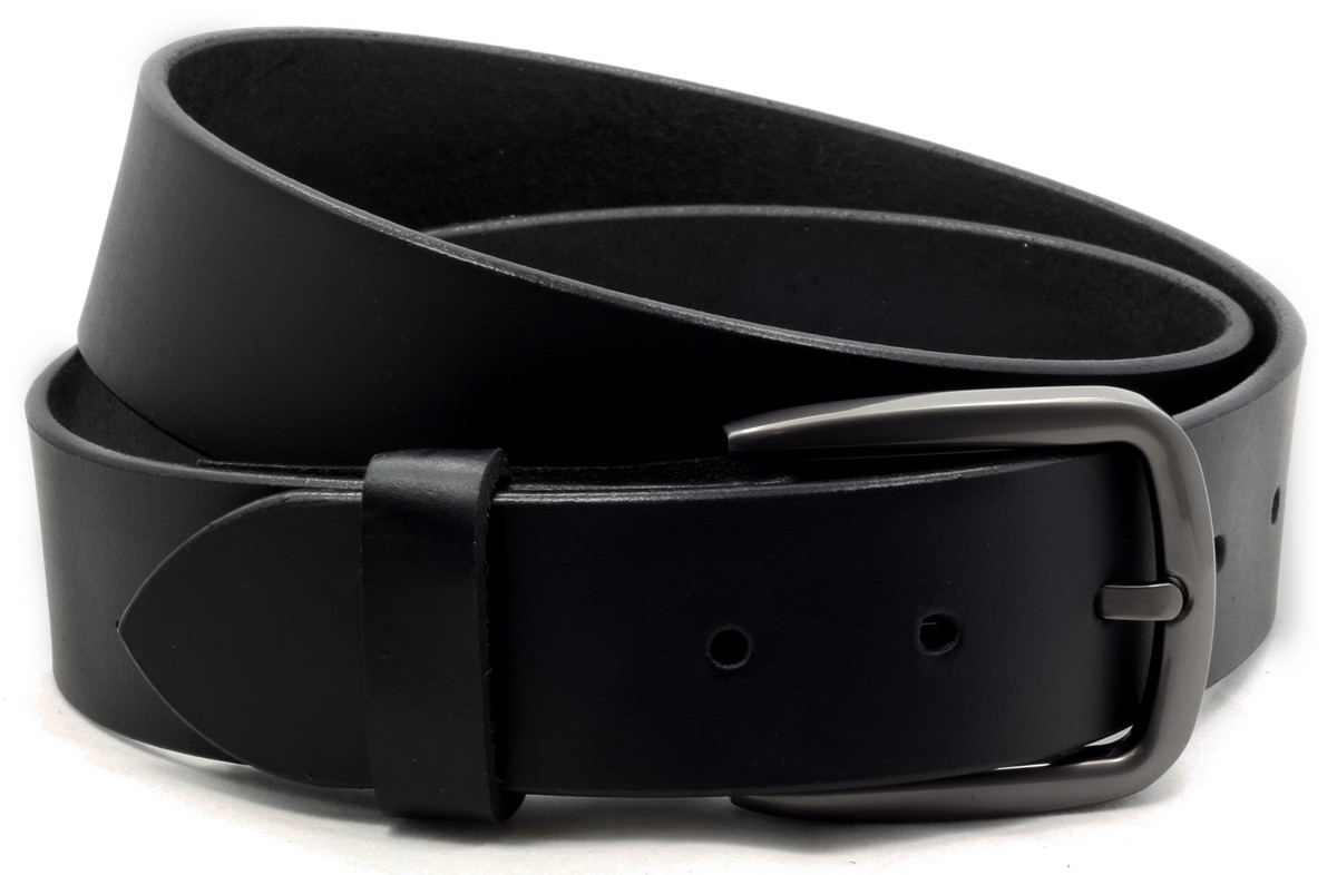 mens black leather casual belt 1 1 2 quot wide w snaps