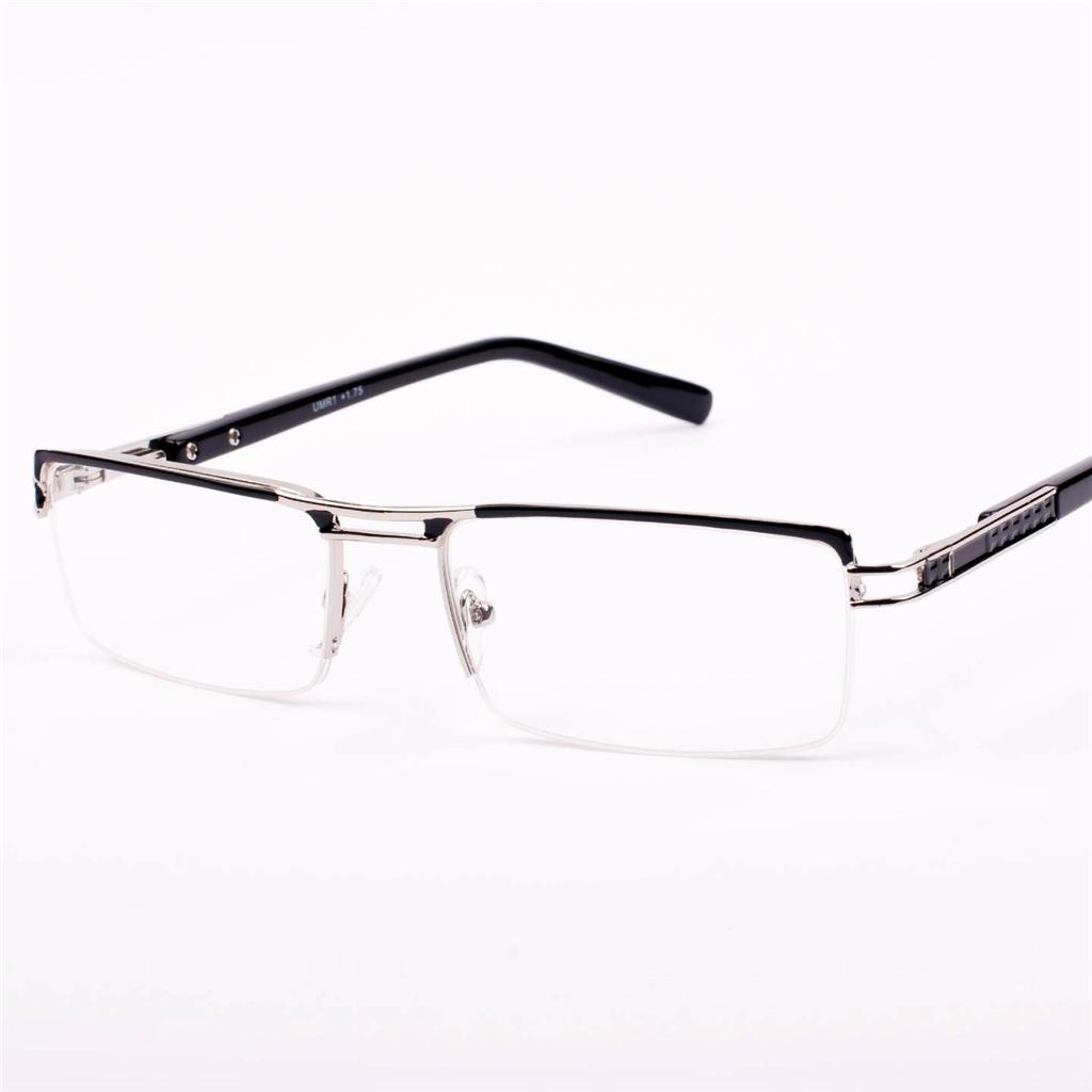 Rimless Glasses Xiv : New Mens Womens Designer Semi Rimless Black/Chrome Reading ...