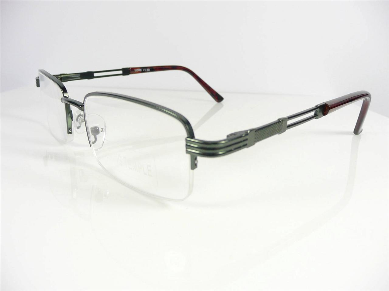 new mens womens semi rimless gun metal reading glasses 1