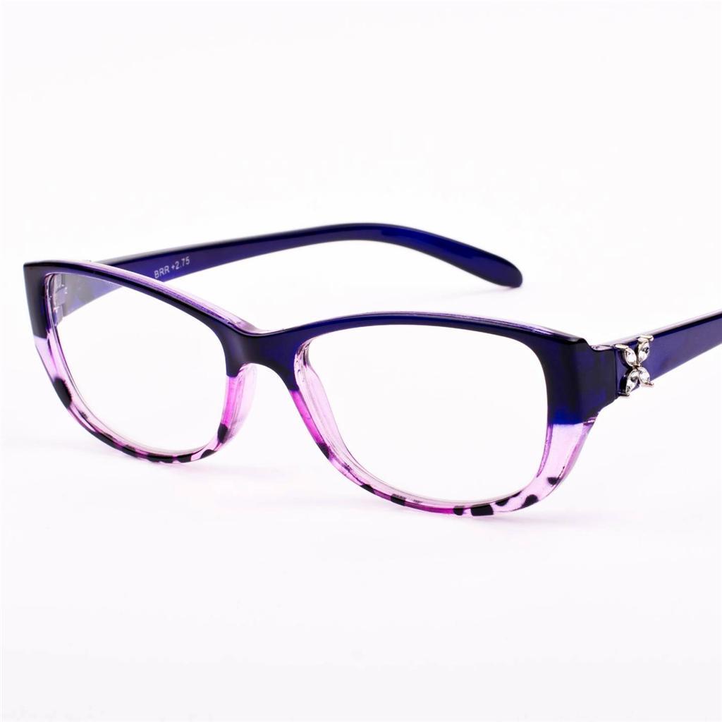 New Womens Ladies Vintage Retro Diamante Purple Reading Glasses +1.0 +2.75 S44
