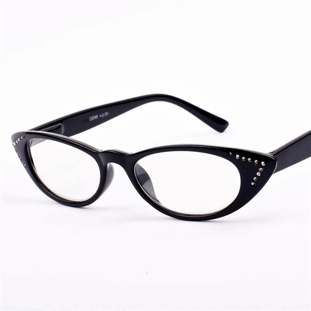NEW Womens Ladies CAT EYE Diamante Black Reading Glasses 1 ...
