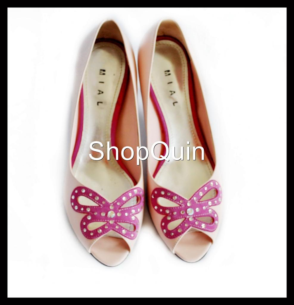 pink butterfly shoes with swarovski finishins