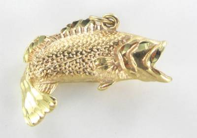 14kt karat solid yellow gold pendant wide mouth fish for Solid gold fish