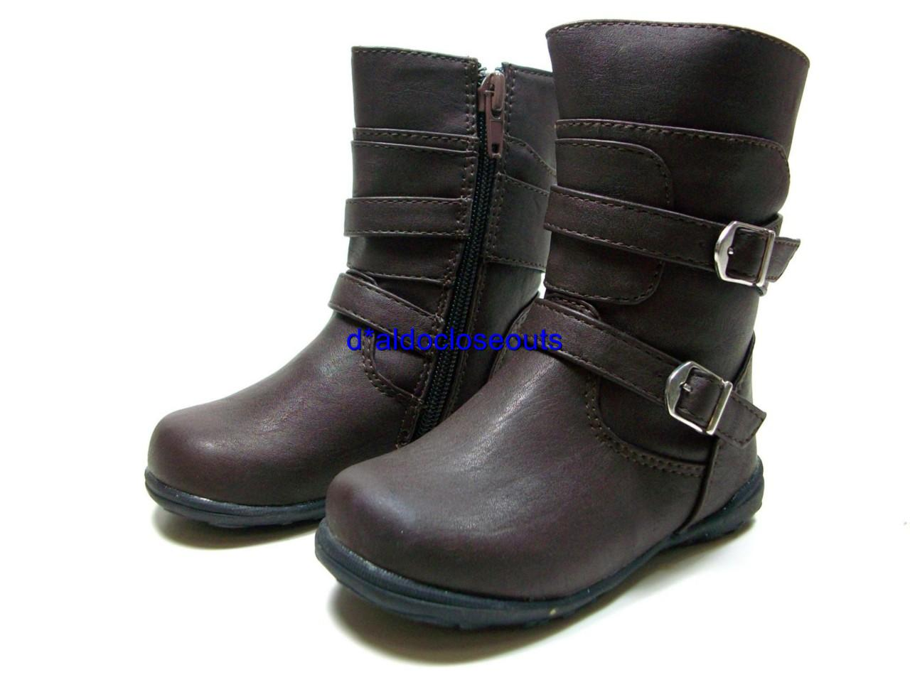 brown flat boots with zipper buckles rubber sole