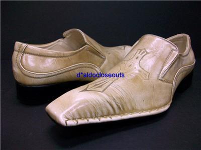 Men Beige Italian Style Cross Design Loafer Dress Shoes