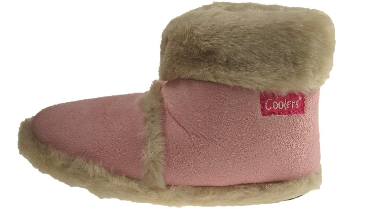 Girls Faux Suede Fur Coolers Warm Comfort Winter slippers Ankle Boots Pink