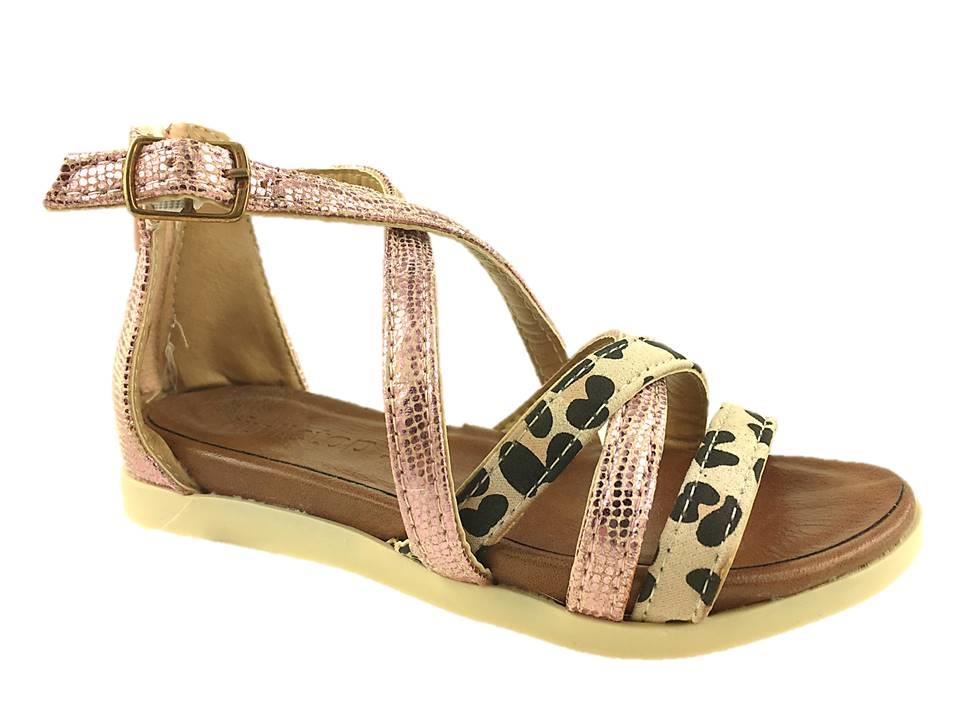 GIRLS SUMMER STRAPPY SANDALS PINK/LEOPARD SIZE 10-2.5