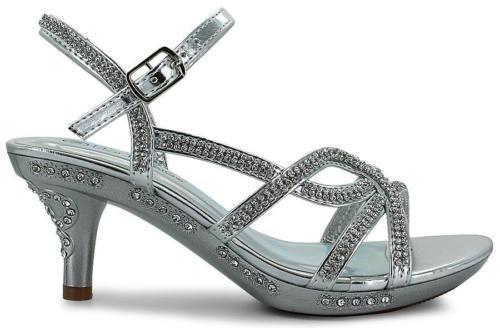 GIRLS RHINESTONE JEWELED ANKLE BUCKLE STRAPPY SANDALS SILVER SIZE 10-12