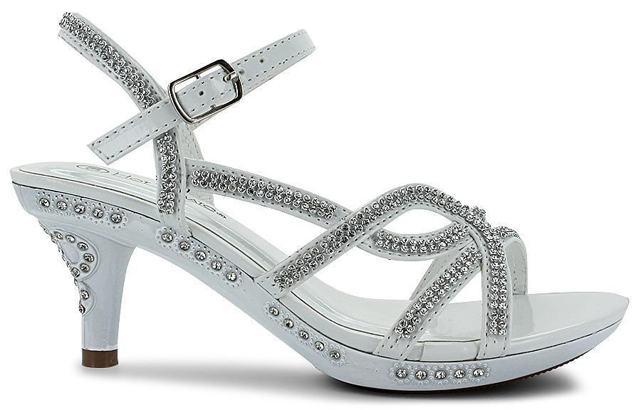 GIRLS RHINESTONE JEWELED ANKLE BUCKLE STRAPPY SANDALS WHITE SIZE 10-13