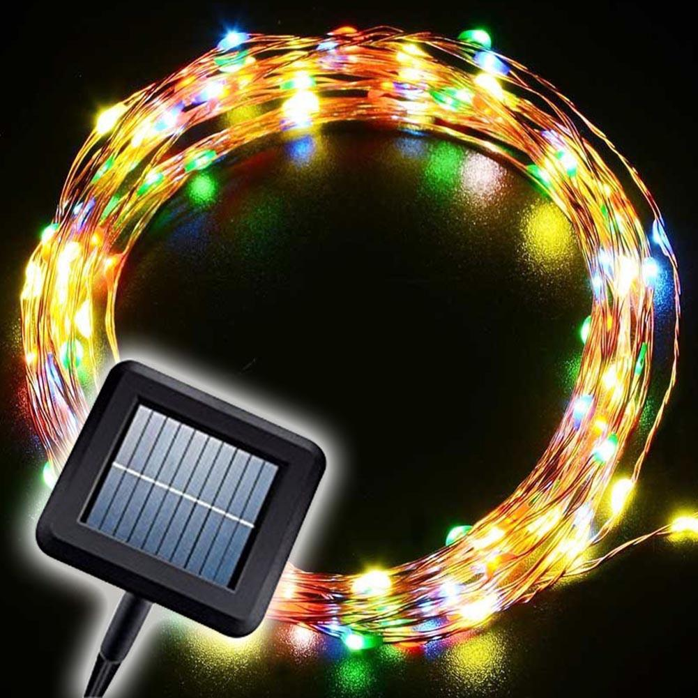 Copper String Lights Solar : 10M/33FT LED String Light Solar Powered Copper Wire Fairy Party Outdoor Lamp eBay