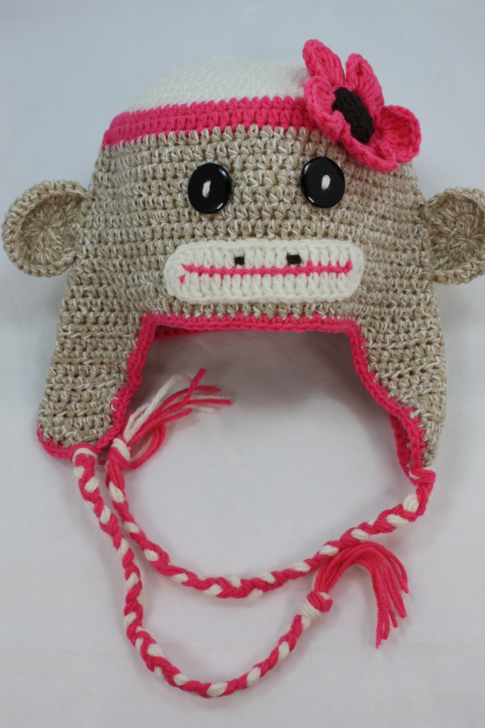 Sock Monkey Hat Knitting Pattern : NEW PINK BABY SOCK MONKEY KNIT CROCHET HAT HANDMADE eBay