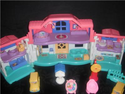 Huge Lot Fisher Price LITTLE PEOPLE House Family Dollhouse ...