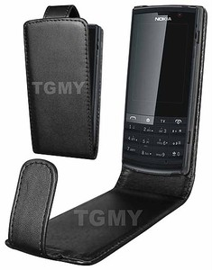 BLACK LEATHER FLIP CASE COVER POUCH FOR NOKIA X3 02