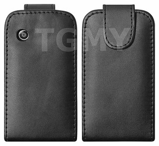 BLACK LEATHER FLIP CASE COVER FOR LG GS290 COOKIE FRESH