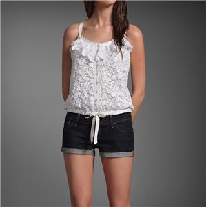 Abercrombie Women Michelle Cami Tank Tee T Shirt Lace White Size s $98