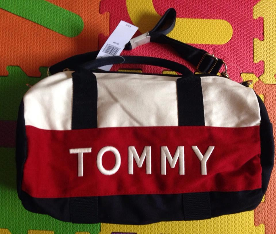 Authentic NWT Tommy Hilfiger Logo Mini Duffle Gym Or Travel Bag Multi Color