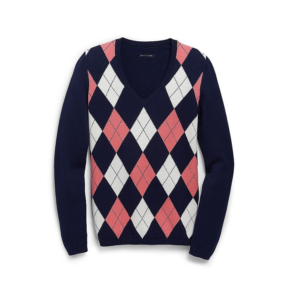 nwt tommy hilfiger womens v neck argyle sweater 100 pima. Black Bedroom Furniture Sets. Home Design Ideas