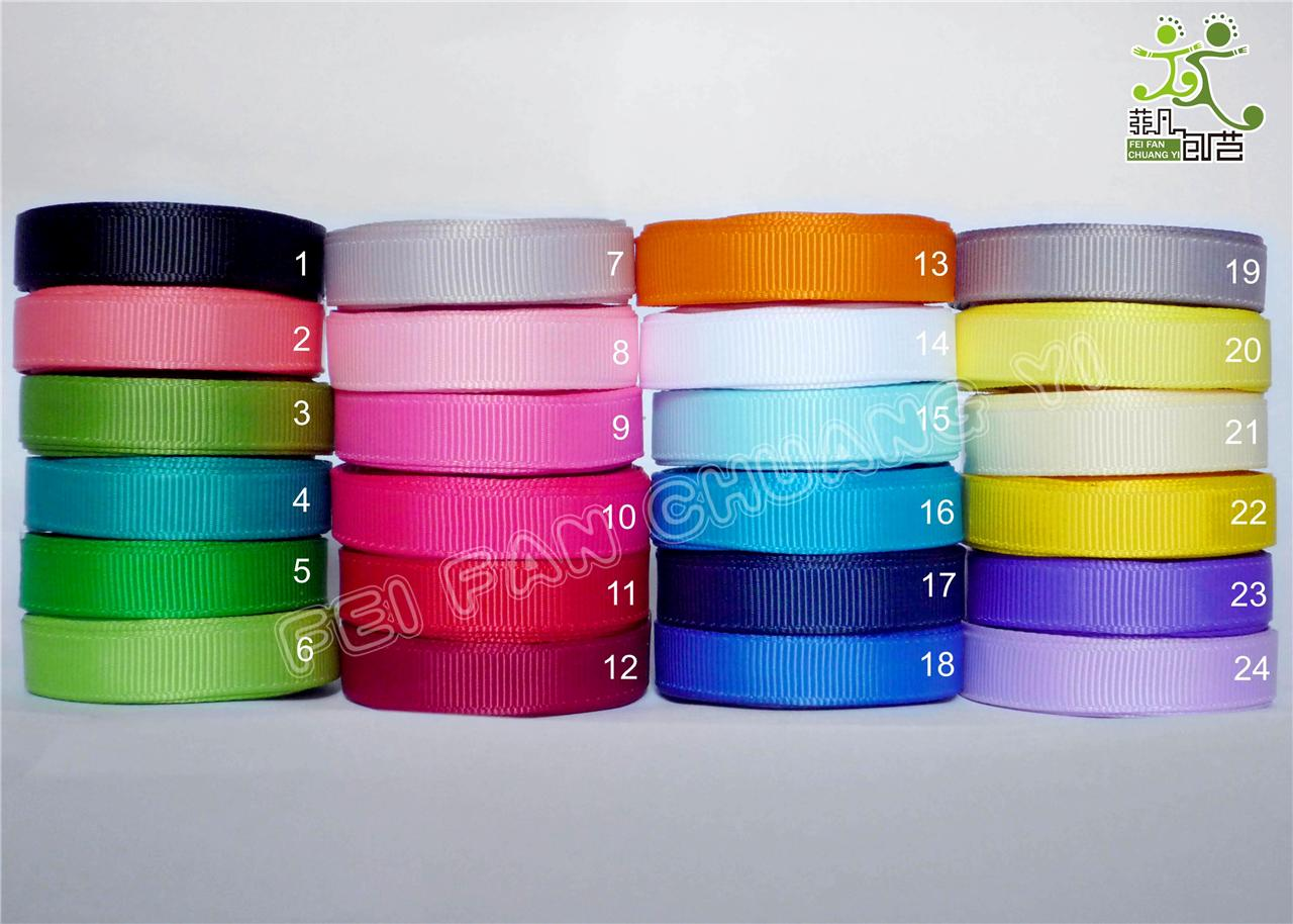 3-8-9mm-5-yard-plain-colors-Grosgrain-RIBBON-24-colors-U-pick-great-quality
