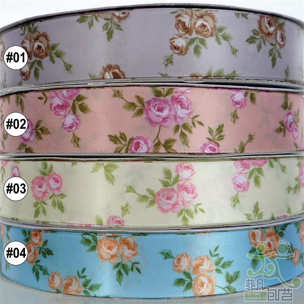 1-25mm-mixed-colors-elegant-flower-satin-RIBBON-5-yard