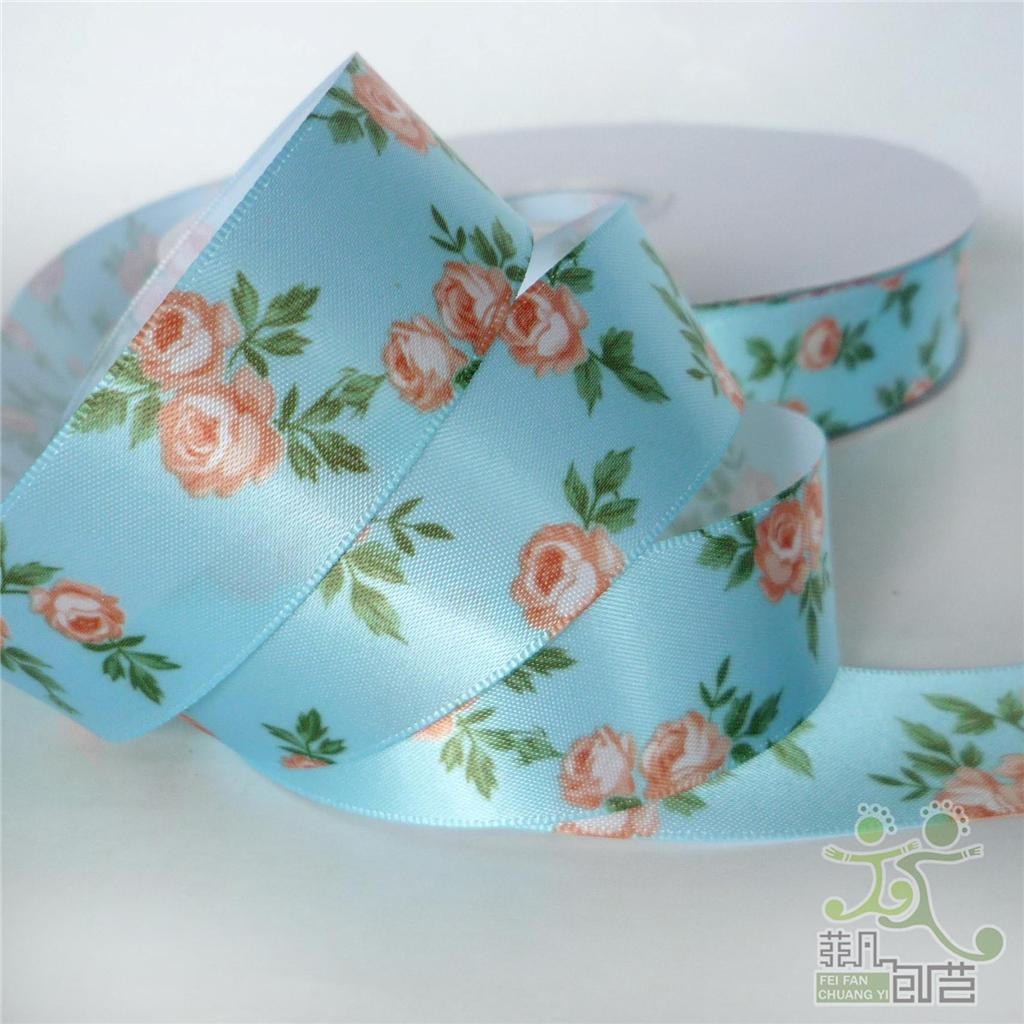 "1""25mm mixed colors elegant flower satin RIBBON 5 yard single face craft sewing"
