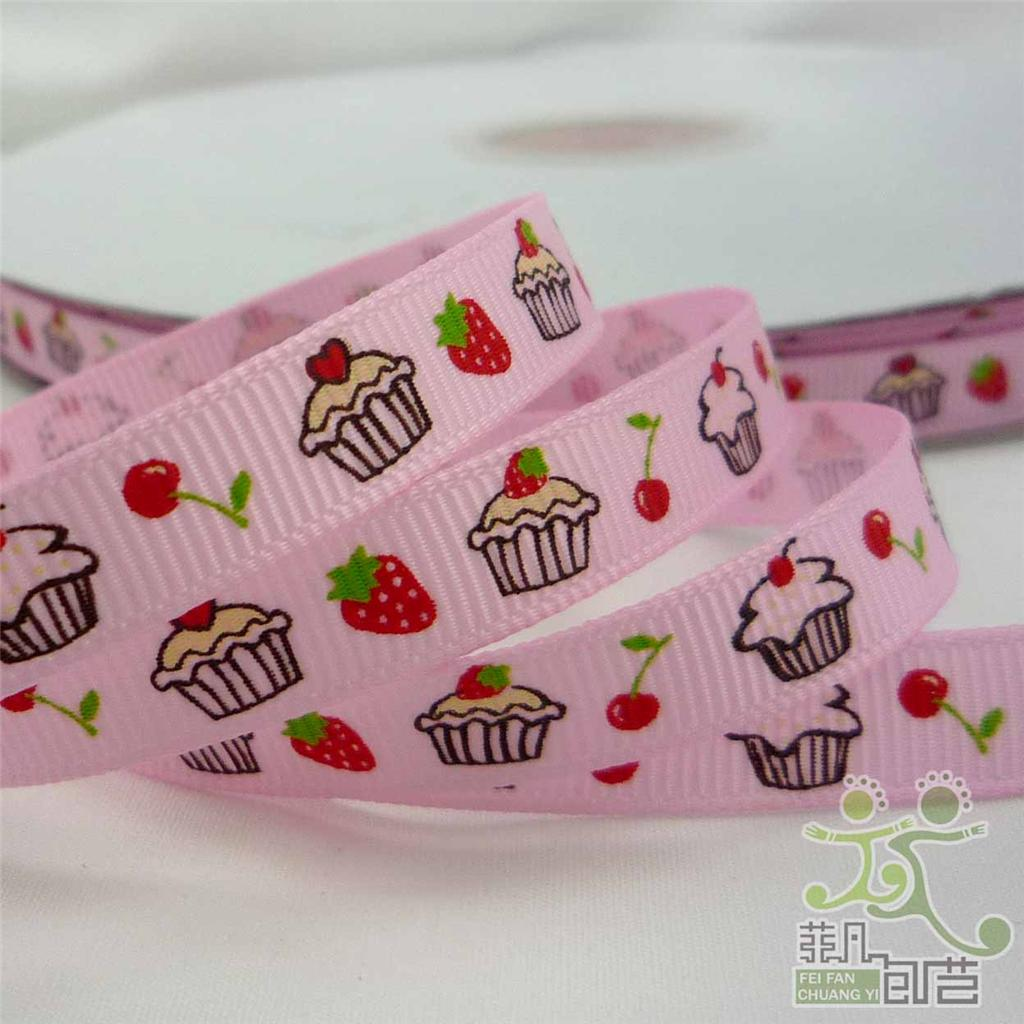 "3/8""9mm Cakes Pink/White/Blue/Purple Cartoon Baby Grosgrain RIBBON 5 Yard"