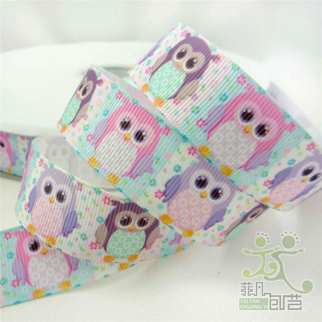 7-8-22mm-colorful-cute-owl-grosgrain-ribbon-craft-bow-5-100yards-4-design-U-pick