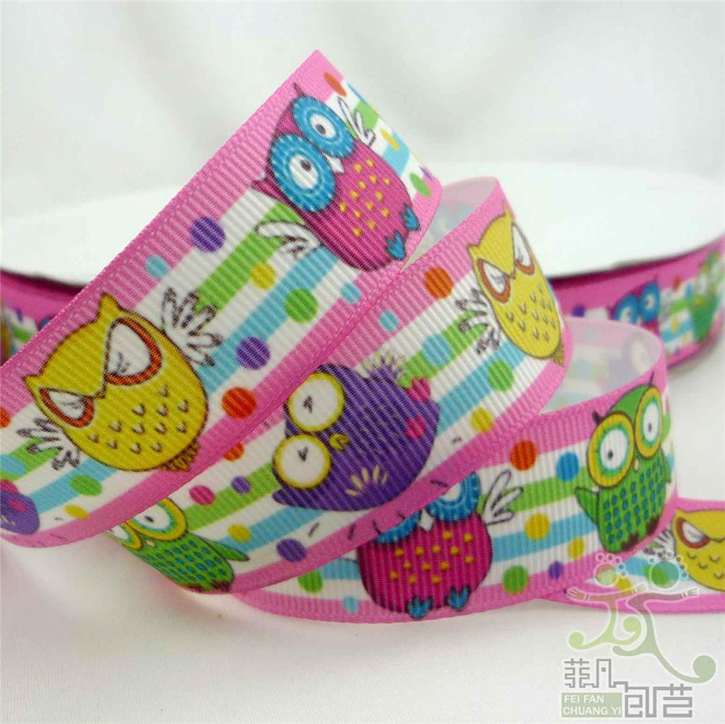 "7/8""22mm Mixed Bees Owl Ballon Grosgrain Ribbon Craft 5 Yard/50 Yard 4 Designs"