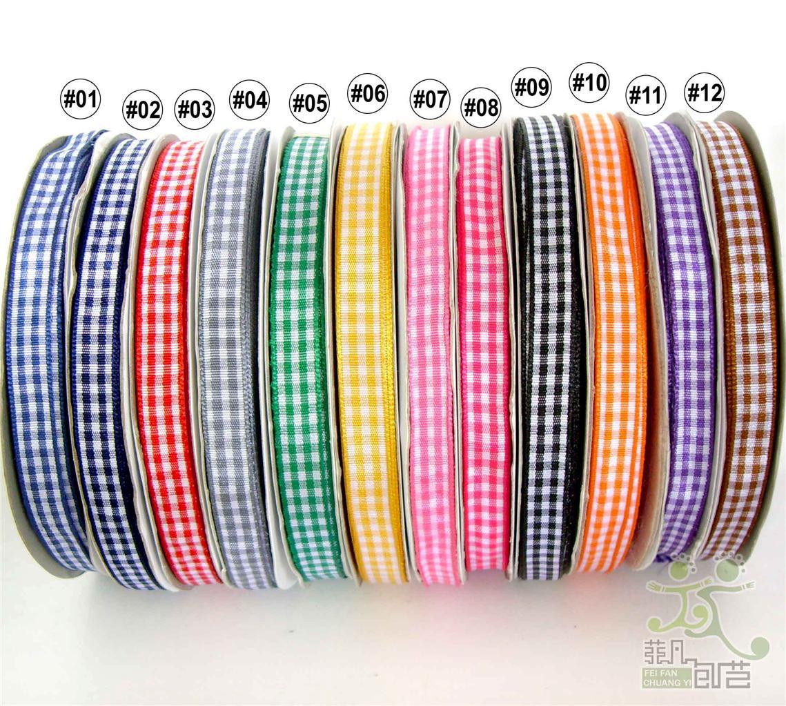 2Yard-5Yard-100Yard-Mixed-Colors-Gingham-Ribbon-Christmas-9mm-3-8-12-colors
