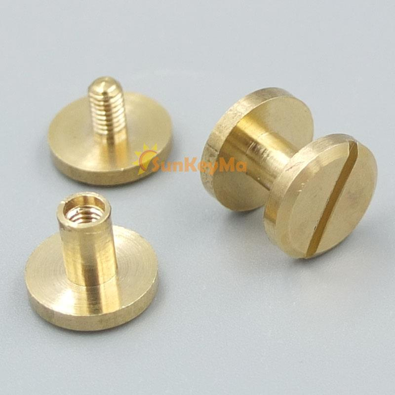 Mm brass flat solid head button stud screw nail chicago