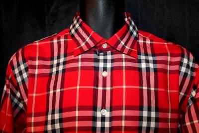 295 Nwot Burberry Brit Red Tartan Nova Plaid L S Cotton
