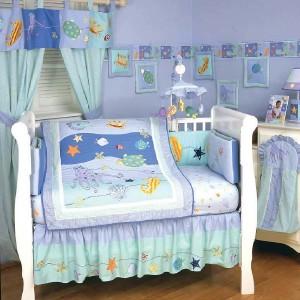 Kidsline sea life baby crib skirt bedding fish crab star for Fishing crib bedding