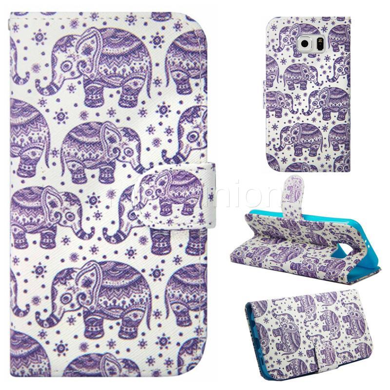 New Wallet Flip Printed Holder Stand Leather Case Cover Pouch For Samsung Galaxy