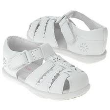 New-STRIDE-RITE-DAFFODIL-White-Leather-SANDALS-Shoes-Toddler-Girls-Velcro-Cute