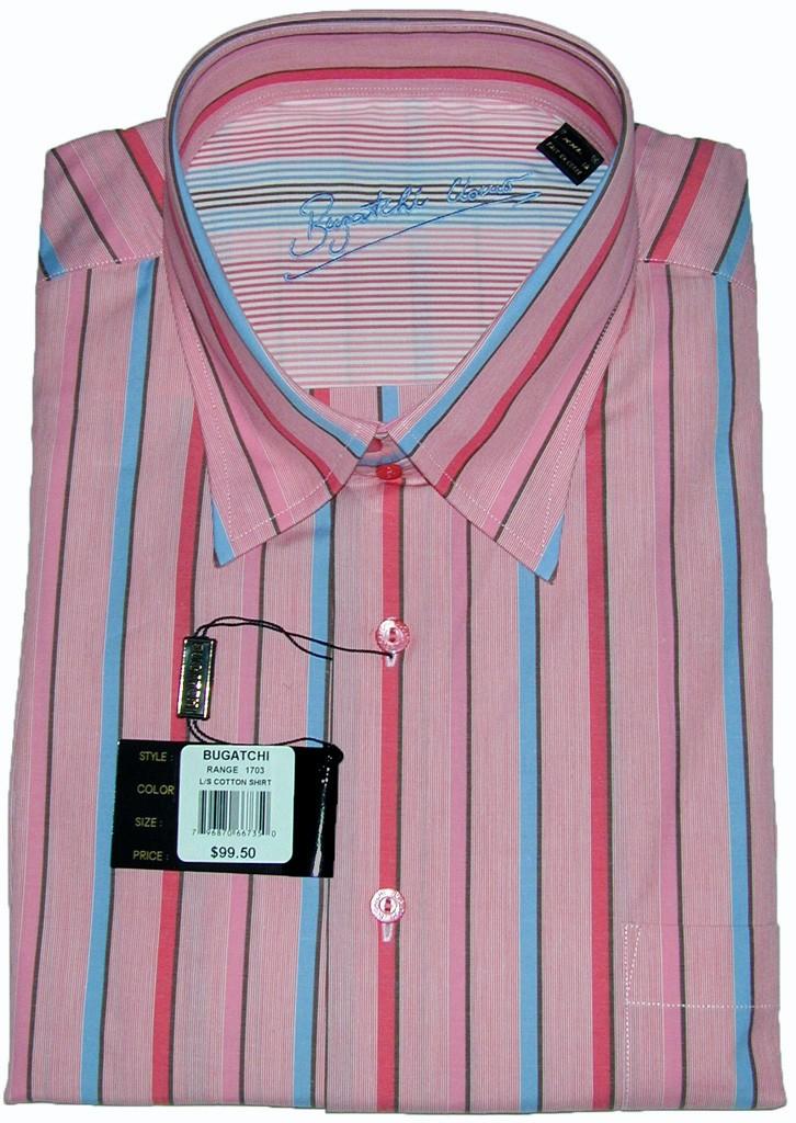 Bugatchi-Uomo-NWT-XXL-100-Cotton-Long-Sleeve-Mens-Dress-Shirt-Stripes